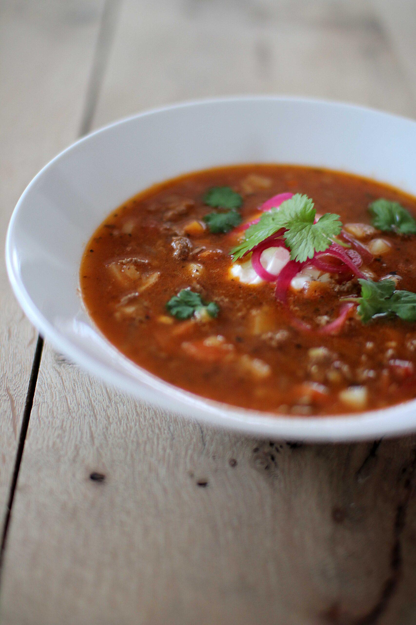 Köttfärssoppa med mexikansk touch